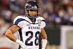 January 9, 2011; San Francisco, CA, USA;  Nevada Wolf Pack cornerback Isaiah Frey (28) warms up before the 2011 Fight Hunger Bowl against the Boston College Eagles at AT&T Park. Nevada defeated BC 20-13.