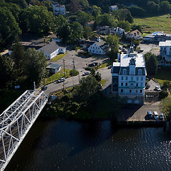 The Goodspeed Opera House in East Haddam, Connecticut.  Connecticut River.   Connecticut Route 82 Bridge.  Aerial.