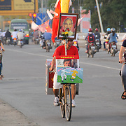 Bicycle traffic on Cau Phu Xuan in Hue, Vietnam.