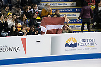 KELOWNA, BC - OCTOBER 26: Latvian fans show support during the men's long program / free skate of Skate Canada International held at Prospera Place on October 26, 2019 in Kelowna, Canada. (Photo by Marissa Baecker/Shoot the Breeze)