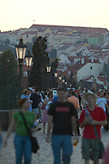 Czeck Republic, Prague, Charles bridge just after sunset with views of Malá Strana
