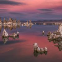 Pastel colors at twilight, Mono Lake, California.