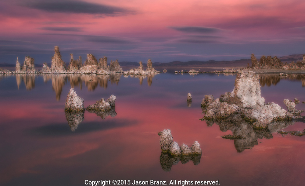 Pastel colors at twilight, Mono Lake, California.