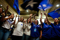 Supporters of Presidential candidate Porfirio Lobo Sosa from the National Party celebrate as they watch the poll numbers come in at the party head quarters at the Hotel Maya in Tegucigalpa, Sunday, Nov. 29, 2009. After months of turmoil following the Coup of former President Manuel Zelaya Honduras finally gets its chance to vote for the general elections that many hope will put the previous months behind them and return to normal.   Darren Hauck For The New York Times