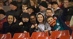 LIVERPOOL, ENGLAND - Friday, February 27, 2009: Young Liverpool supporters during the FA Youth Cup Quarter Final against Bolton Wanderers at Anfield. (Photo by David Tickle/Propaganda)