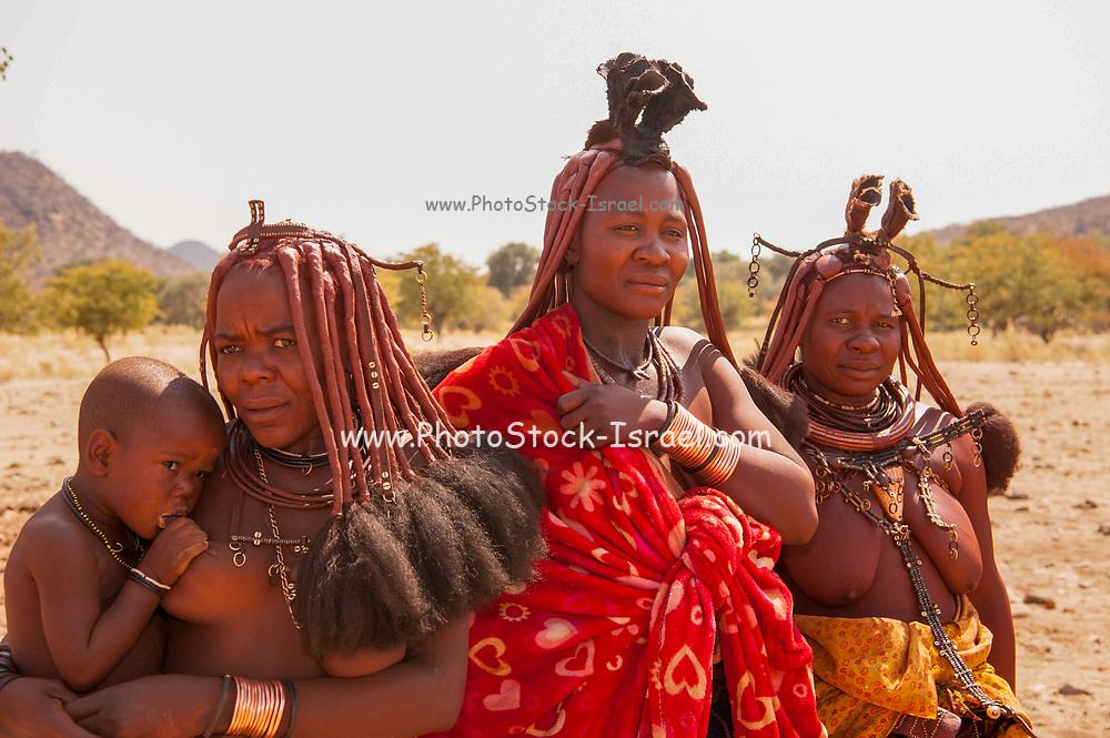Portrait of three Himba tribeswomen. Namibia