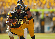 September 21 2013: Iowa Hawkeyes fullback Mark Weisman (45) carries the ball during the second quarter of the NCAA football game between the Western Michigan Broncos and the Iowa Hawkeyes at Kinnick Stadium in Iowa City, Iowa on September 21, 2013. Iowa defeated Western Michigan 59-3.
