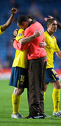 LONDON, ENGLAND - Wednesday, May 6, 2009: Barcelona's Lionel Messi celebrates with Thierry Henry after a dramatic injury time winning away goal defeated Chelsea during the UEFA Champions League Semi-Final 2nd Leg match at Stamford Bridge. (Photo by David Rawcliffe/Propaganda)