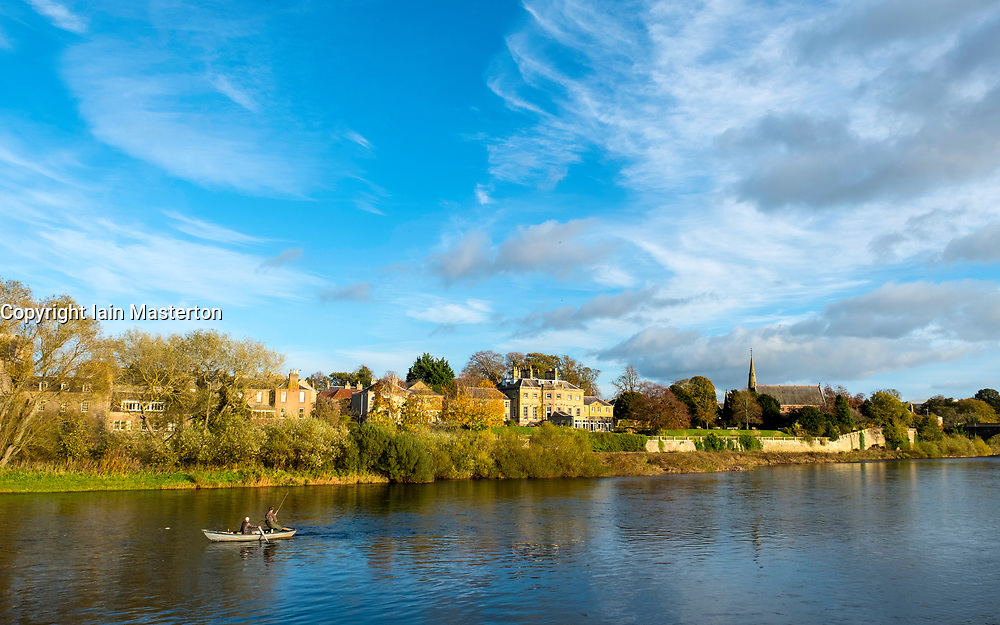 Fishing for Salmon on River Tweed in Kelso, Scottish Borders, Scotland, United Kingdom