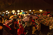 At the second intermission in the performace of Les Ballets Trockadero de Monte Carlo, a thunderstorm came through the area, and many in the crowd raised umbrellas and left.