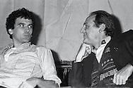 Roma   Dicembre 1982.Massimo Troisi,  Renzo  Arbore, incontrano gli studenti nell' aula magna dell'università La Sapienza