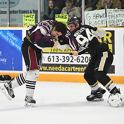 "TRENTON, ON  - MAY 4,  2017: Canadian Junior Hockey League, Central Canadian Jr. ""A"" Championship. The Dudley Hewitt Cup. Game 6 between Trenton Golden Hawks and the Dryden GM Ice Dogs. Garrett Giertuga #90 of the Dryden GM Ice Dogs and Cal Walker #94 of the Trenton Golden Hawks have a disagreement during the first period.  <br /> (Photo by Andy Corneau / OJHL Images)"