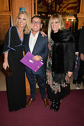 Left to right, SARAH HARDING, SID OWEN and JO WOOD at the Cirque Du Soleil's VIP performance of Kooza at The Royal Albert Hall, London on 6th January 2015.