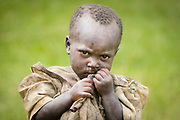 An IDP Pygmy child wanders a field just outside her former Bwindi forest home.