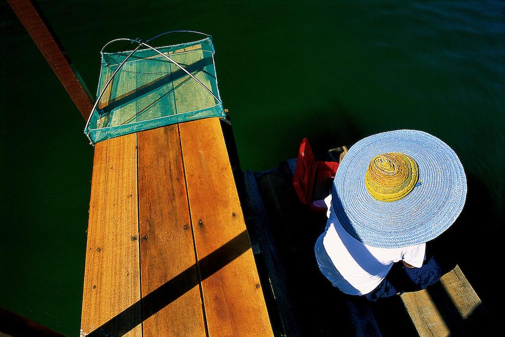 Shrimp farm - testing clarity of water.. nr Bandar Seri Bagwan, Brunei ..Jeremy Horner