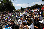 France, Bourgoin-Jallieu, 23 July 2009: Images from the start of Stage 19, the 179 km stage from Bourgoin-Jallieu to Aubenas. Photo by Peter Horrell / http://peterhorrell.com .