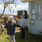 MARATHON, FL - SEPTEMBER 16: <br /> Tim Thompson, Minister of the Marathon Church of Christ,  inspects the house he rents next to his church after arriving from Homestead where he and his wife Kathy evacuated to before Hurricane Irma made landfall. They rent a house next to the church on September 16, 2017 in Marathon, Florida.  (Photo by Angel Valentin/Getty Images)