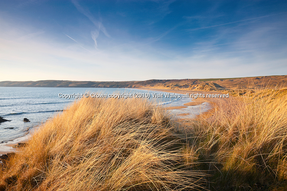 Beach and sand dunes<br /> Freshwater West<br /> Pembrokeshire<br /> South West<br /> Coastal scenery