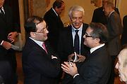 """BOLOGNA, 22/02/2009<br /> FEDERAZIONE ITALIANA PALLACANESTRO PREMIO <br /> PREMIO """"ITALIA BASKET HALL OF FAME""""<br /> NELLA FOTO PATRICK BAUMANN NAR ZANOLIN VALENTINO RENZI"""