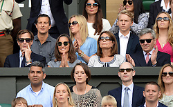 Image licensed to i-Images Picture Agency. 06/07/2014. London, United Kingdom. Pippa Middleton with boyfriend Nico Jackson and parents Michael and Carole Middleton at the Wimbledon Men's Final.  Picture by Andrew Parsons / i-Images