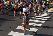 Spring Lake, NJ--May 28, 2016. Early leaders on Ocean Ave in the 2016 Spring Lake 5K run
