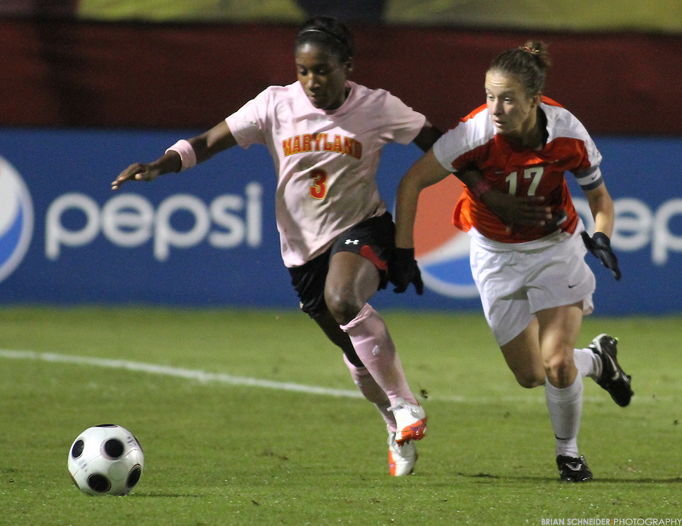 Oct 14, 2010; College Park, MD, USA; Clemson Tigers midfielder Sarah Jacobs (17) in action against Maryland Terrapins forward Jasmyne Spencer (3).