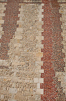 Brick and stone building facade in Normandy, France