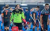 BHUBANESWAR, INDIA - keeper Pirmin Blaak (Ned) , Billy Bakker (Ned) en Thijs van Dam (Ned) voor het nemen van de shoot-outs, tijdens de  finale tussen België en Nederland bij het WK Hockey heren in het Kalinga Stadion. COPYRIGHT KOEN SUYK