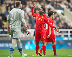 27.04.2013, St. James Park, Newcastle, ENG, Premier League, Newcastle United vs FC Liverpool, 35. Runde, im Bild Liverpool's Daniel Sturridge celebrates scoring the fourth goal against Newcastle United during the English Premier League 35th round match between Newcastle United and Liverpool FC at the St. James Park, Newcastle, Great Britain on 2013/04/27. EXPA Pictures © 2013, PhotoCredit: EXPA/ Propagandaphoto/ David Rawcliffe..***** ATTENTION - OUT OF ENG, GBR, UK *****