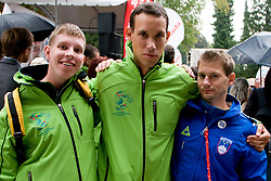 Miha Zupan (L) and Ales Masten with Mitja Petkovsek at Special Olympics Law Enforcement Torch Run for Special Olympics European Summer Games 2010, Warsaw, Poland in September 7, in Ljubljana, Slovenia. (Photo by Matic Klansek Velej / Sportida)