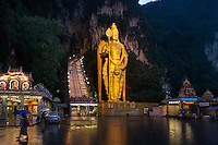 Kuala Lumpur, Malaysia: The 43-meter statue of Lord Murugan, built in 2006, sits at the base of Batu Caves, a mountaintop complex that houses a collection of temples and shrines first built by Indian laborers in the 1890s