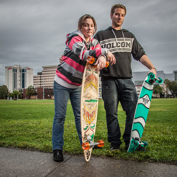 Just returned to Anchorage after summer jobs in Nome, Nicole Curran and Steven Lasley try our their new skate boards on the Delaney Park Strip.  slaveway@hotmail.com
