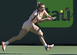 March 22, 2018 - Miami, Florida, U.S. - SIMONA HALEP (ROU) in action at the 2017 Miami Open held at the Tennis Center at Crandon Park.  Halep defeated Oceane Dodin 3-6, 6-3, 7-5.  (Credit Image: © Andrew Patron via ZUMA Wire)