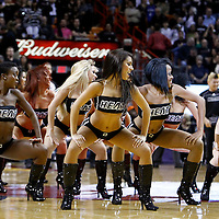 19 January 2012:  Miami Heat dancers perform during the Miami Heat 98-87 victory over the Los Angeles Lakers at the AmericanAirlines Arena, Miami, Florida, USA.