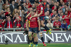October 20, 2018 - Limerick, Ireland - Munster players celebrate Sammy Arnold scoring during the Heineken Champions Cup match between Munster Rugby and Gloucester Rugby at Thomond Park in Limerick, Ireland on October 20, 2018  (Credit Image: © Andrew Surma/NurPhoto via ZUMA Press)