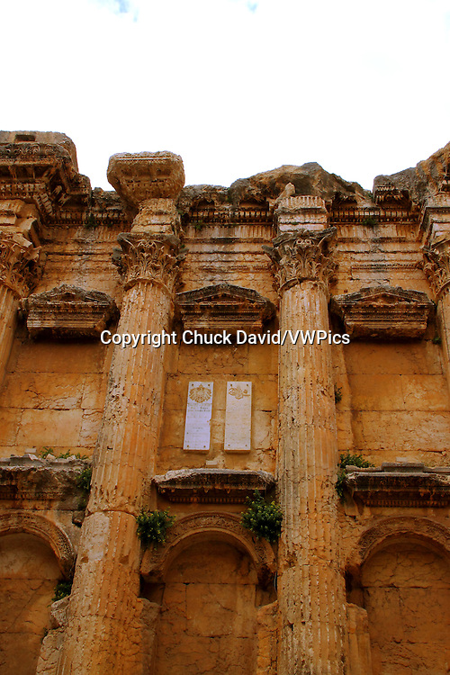 The imposing columns of the Temple of Bacchus and their ornate capitals in Baalbek, lebanon.