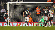 Adrian Colunga of Brighton and Hove Albion scores the opening goal against Fulham during the Sky Bet Championship match at Craven Cottage, London<br /> Picture by David Horn/Focus Images Ltd +44 7545 970036<br /> 29/12/2014