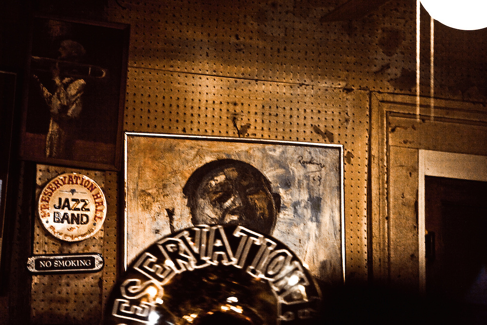 Wall at Preservation Hall in French Quarter of New Orleans, LA.  Copyright 2011 Reid McNally