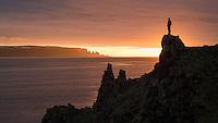 Enjoying the sunset view from the hills of Munaðarneshlíð. Drangaskörð in the distance.