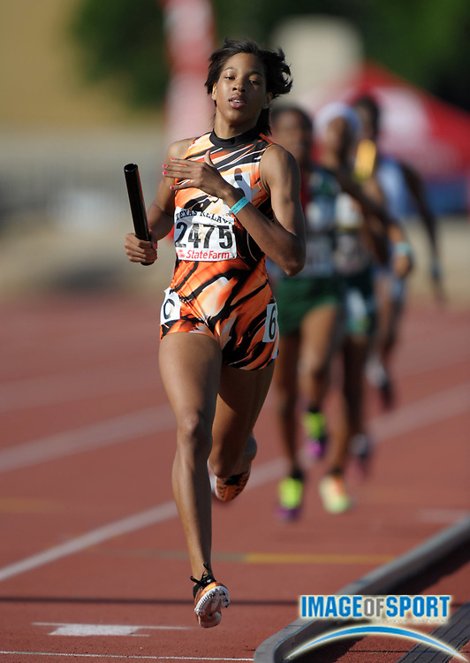 Mar 31, 2012; Austin, TX, USA; Taylor Rockwell runs the third leg on the Lancaster girls 4 x 400m relay that won the Division II race in 3:44.67 in the 85th Clyde Littlefield Texas Relays at Mike A. Myers Stadium.