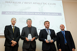 Dusan Prezelj, Stane Rozman, Dusan Olaj and Janez Aljancic during the Slovenia's Athlete of the year award ceremony by Slovenian Athletics Federation AZS on November 8, 2013 in Grand Hotel Toplice, Bled, Slovenia. Photo by Vid Ponikvar / Sportida