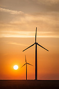 Sunsetting on a windfarm in Northern Wyoming.
