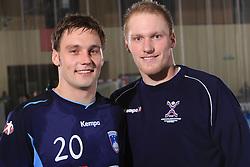 Luka Zvizej and his brother Miha Zvizej at handball match of 5th Round of qualifications for EHF Euro 2010 in Austria between National team of Slovenia vs Bulgaria, on November 30, 2008 in Velenje, Slovenia. (Photo by Vid Ponikvar / Sportida)