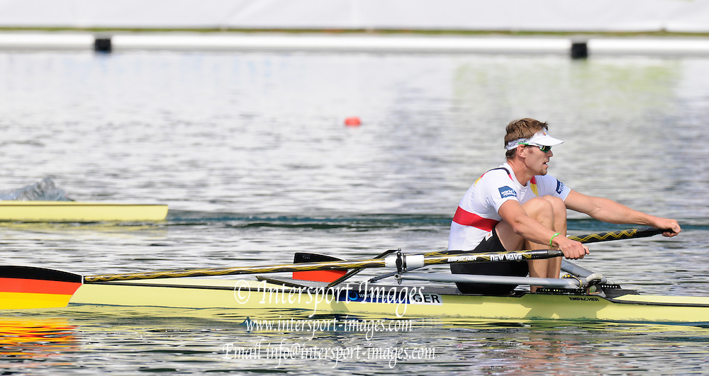 Bled, SLOVENIA. GER M1X, Marcel HACKER, Quarter Finals [Day Four]  at the 2011 FISA World Rowing Championships, Lake Bled. Wednesday  31/08/2011  [Mandatory Credit; Peter Spurrier/ Intersport Images]