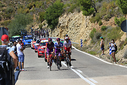 The breakaway featuring Jetse Bol (NED), Polka Dot Jersey Angel Madrazo Ruiz (Spa) Burgos-BH and Jesus Herrada (ESP) Cofidis on Puerto de Alcublas 2nd Cat climb during Stage 5 of La Vuelta 2019 running 170.7km from L'Eliana to Observatorio Astrofisico de Javalambre, Spain. 28th August 2019.<br /> Picture: Ann Clarke | Cyclefile<br /> <br /> All photos usage must carry mandatory copyright credit (© Cyclefile | Ann Clarke)