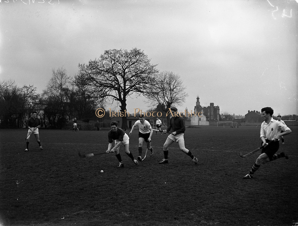 26/03/1960<br /> 03/26/1960<br /> 26 March 1960<br /> Interprovincial Hockey: Ulster v Combined Munster and South East at Claremount Road, Dublin. Munster's Poole (left) clears his lines during a dangerous Ulster attack by E. Priestley, with Dale (Munster) awaiting the outcome.
