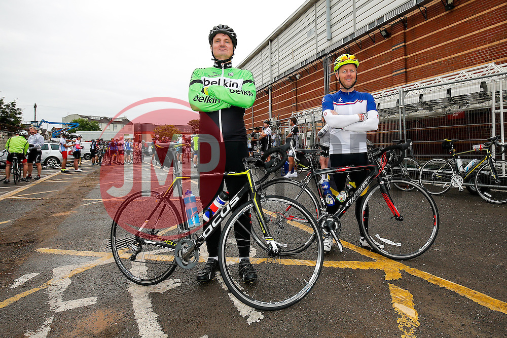 Cyclists (274, 275) take part in Break the Cycle, a 110 mile charity bike ride organised by the Bristol, Bath and Gloucester Rugby Community Foundations, visiting their respective stadia, Ashton Gate, The Recreation Ground and Kingsholm Stadium - Photo mandatory by-line: Rogan Thomson/JMP - 07966 386802 - 14/06/2015 - SPORT - Cycling - Bristol, England - Ashton Gate Stadium.
