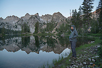 Adult male hiker at Alice Lake Sawtooth Mountains Idaho