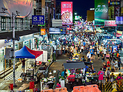 24 JULY 2018 - BANGKOK, THAILAND: An overview of Khao San Road in Bangkok. Khao San Road is Bangkok's original backpacker district and is still a popular hub for travelers, with an active night market and many street food stalls. The Bangkok municipal government plans to shut down the street market by early August because city officials say the venders, who set up on sidewalks and public streets, pose a threat to public safety and could impede emergency vehicles. It's the latest in a series of night markets and street markets the city has closed.   PHOTO BY JACK KURTZ