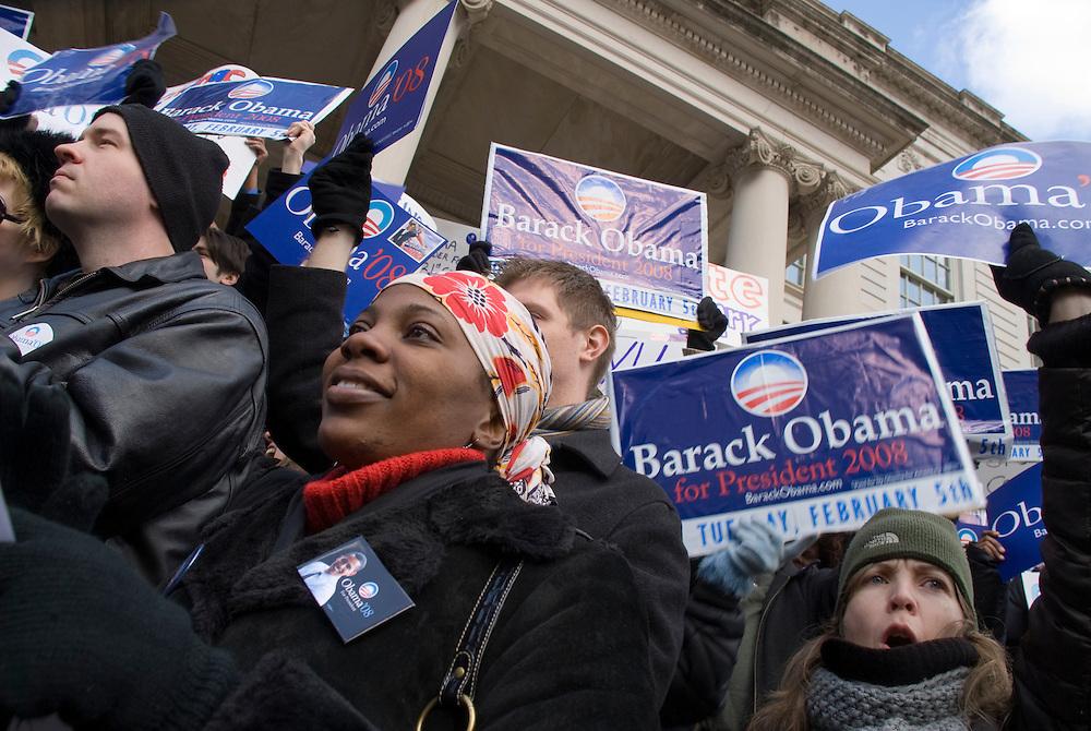 New York City Hall Rally fuer Barack Obama..Fotos © Stefan Falke. Clinton / Obama Kandidatenwahl der Demokraten in den USA.New York Primary 2008